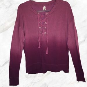 Kohl's ombre sweater lace up